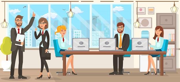 Ilustración vectorial plana equipo discusión abogados.