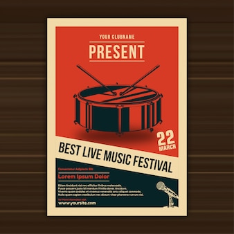Ilustración vectorial de plantilla de cartel del festival de música