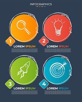 Ilustración vectorial plantilla de diseño de infografía con iconos y 4 opciones o pasos.