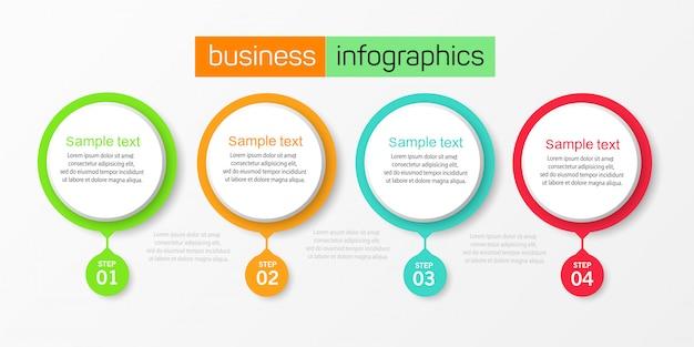 Ilustración vectorial plantilla de diseño infográfico con 4 opciones o pasos