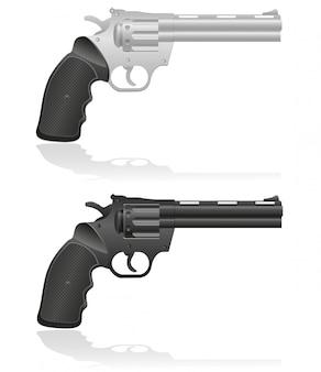 Ilustración vectorial de plata y negro revólveres