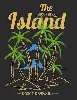 Ilustración vectorial de playa isla tropical