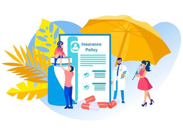 Ilustración vectorial póliza de seguro médico.