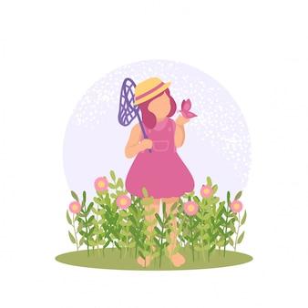Ilustración vectorial primavera linda chica jugando mariposa