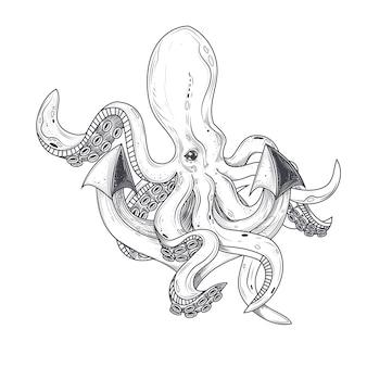 Ilustración vectorial de un pulpo abrazando tentáculos de un ancla de buques