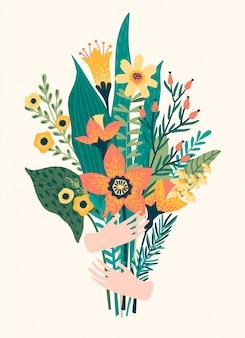Ilustración vectorial ramo de flores en las manos.