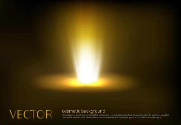 Ilustración vectorial de un rayo de luz de oro, un haz de luz