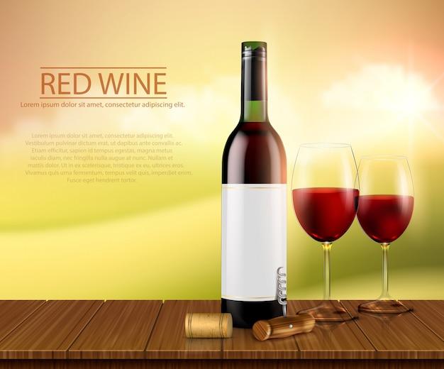 Ilustración vectorial realista, cartel con botella de vino de vidrio y vasos con vino tinto
