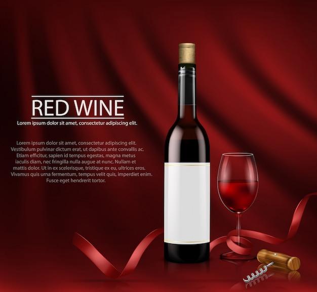 Ilustración vectorial realista. cartel con botella de vino de vidrio y vidrio con vino tinto