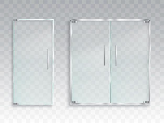 Ilustración vectorial realista de una disposición de una puerta de cristal de entrada con asas de metal