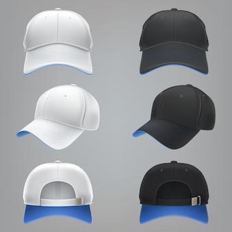 Ilustración vectorial realista de una gorra de béisbol textil blanco y negro frente, la espalda y la vista lateral