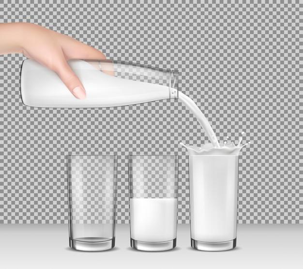 Ilustración vectorial realista, mano sosteniendo una botella de vidrio de leche, leche que vierte en vasos de beber