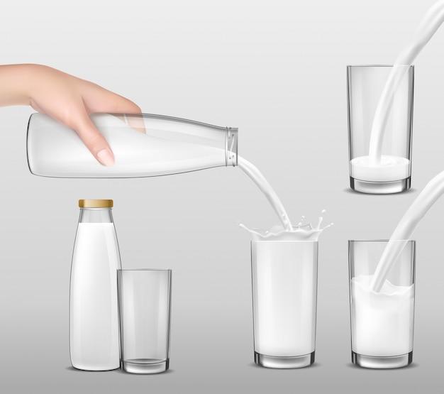 Ilustración vectorial realista, mano sosteniendo una botella de vidrio de leche y leche vertiendo en vasos de beber
