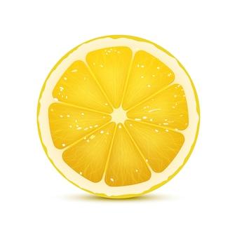 Ilustración vectorial realista de rodaja de limón