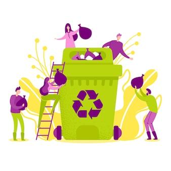 Ilustración vectorial reciclaje en la naturaleza plana.