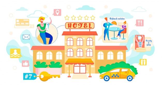 Ilustración vectorial de reservas hotel cartoon plana.
