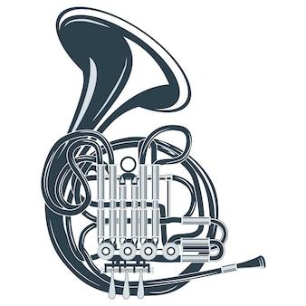 Ilustración vectorial retro cuerno francés