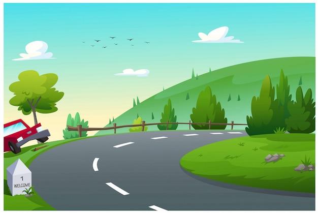 Ilustración vectorial rutas en coche para viajar.