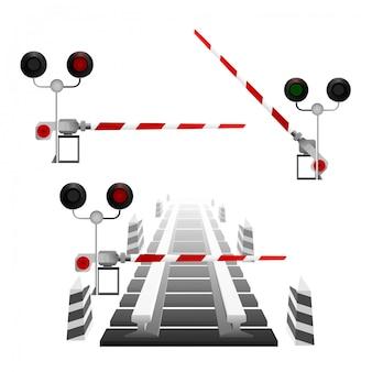 Ilustración vectorial de un semáforo y vías férreas.