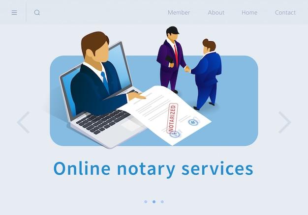Ilustración vectorial de servicios notariales en línea plana.