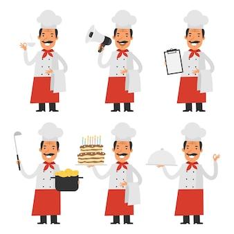 Ilustración vectorial, set chef de caracteres, formato eps 10