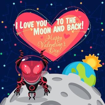 Ilustración vectorial sobre el espacio exterior para el día de san valentín.