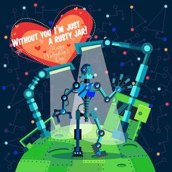 Ilustración vectorial sobre robot para el día de san valentín
