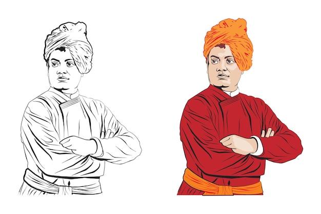 Ilustración vectorial de stock de swami vivekananda monje hindú espiritual indio