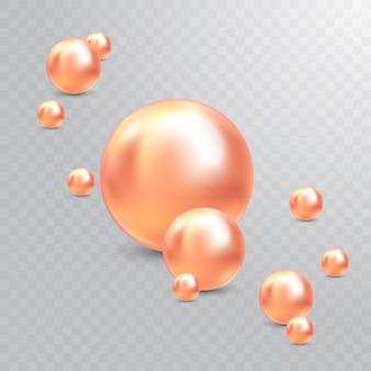 Ilustración vectorial para su diseño. joyas brillantes de lujo con perlas rosadas. hermosas perlas naturales brillantes. con resplandores transparentes y reflejos para deco