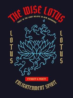Ilustración vectorial de tatuaje de flor de loto de asia