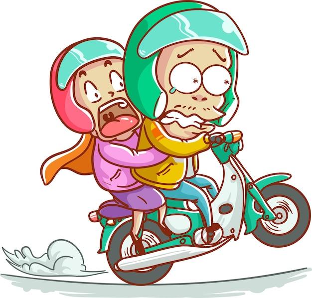 Ilustración vectorial taxi en línea, conductor de bicicleta, pareja, motocicleta, ojek, niña, pasajero, asustado, casco