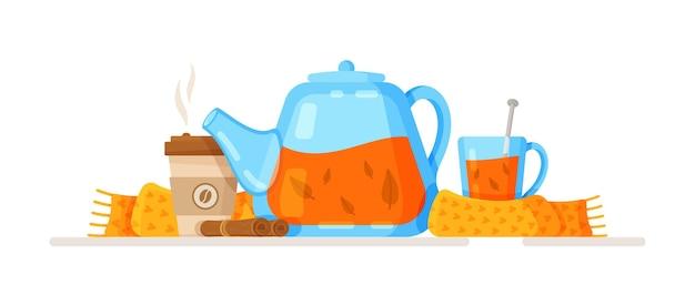 Ilustración vectorial de una taza de café con leche de calabaza decorada con hojas de otoño té de hierbas