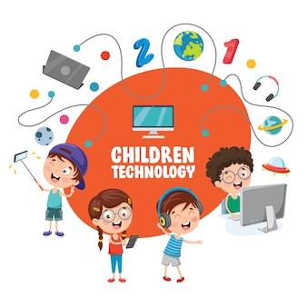 Ilustración vectorial de la tecnología de los niños