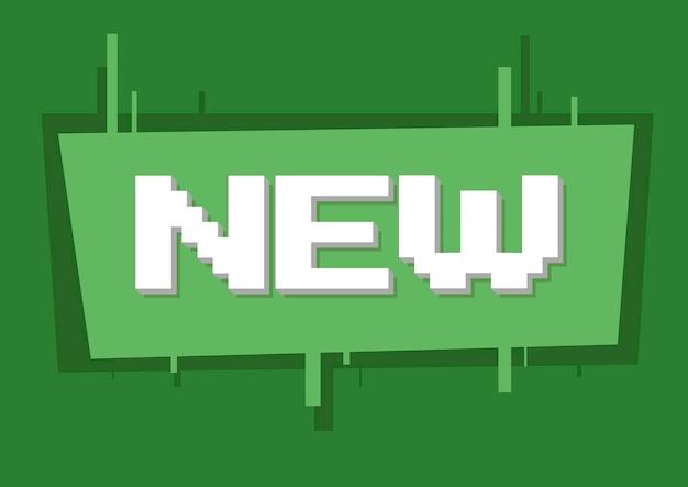 Una ilustración vectorial de texto blanco de píxeles nuevo en la ilustración de fondo verde