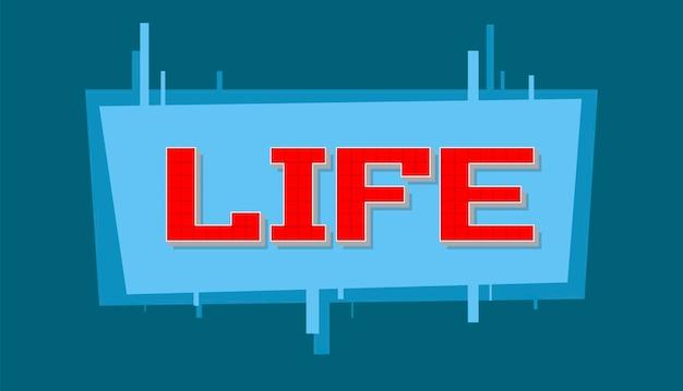 Una ilustración vectorial de texto de vida de píxeles sobre fondo azul