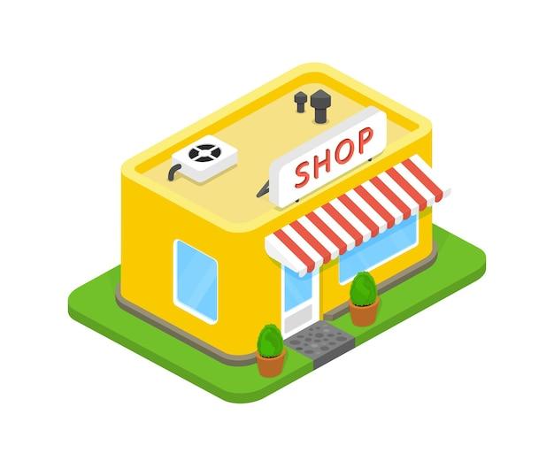 Ilustración vectorial tienda 3d
