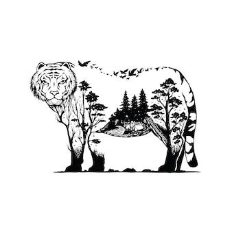 Ilustración vectorial de un tigre con fondo de bosque