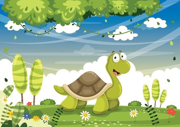 Ilustración vectorial de tortuga de dibujos animados