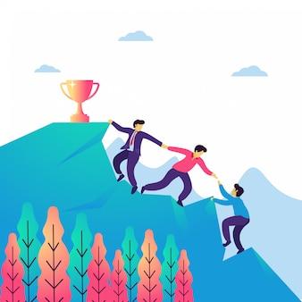 Ilustración vectorial de trabajo en equipo y liderazgo.
