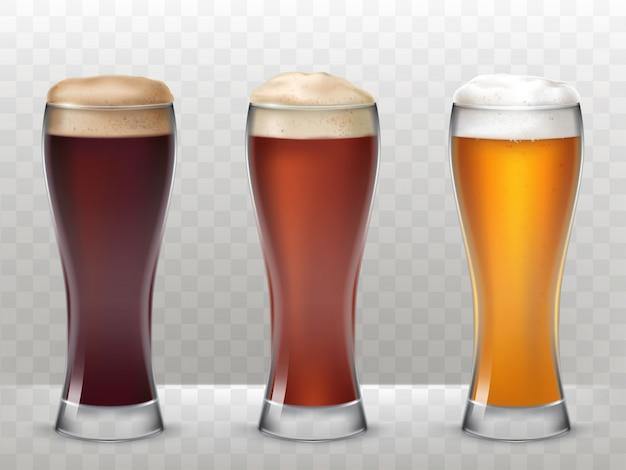 Ilustración vectorial tres vasos altos con una cerveza diferente aislado en un fondo transparente