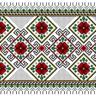 Ilustración vectorial de ucraniano folk patrón transparente ornamento. ornamento étnico. elemento de borde. tradicional ucraniano, arte popular bielorruso patrón de punto de bordado - vyshyvanka