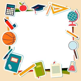 Ilustración vectorial de útiles escolares y herramientas