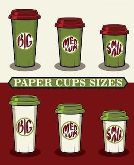 Ilustración vectorial de vasos de papel para café para llevar
