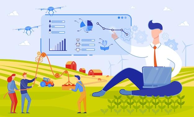 Ilustración vectorial vectores uso drones en granja de dibujos animados.