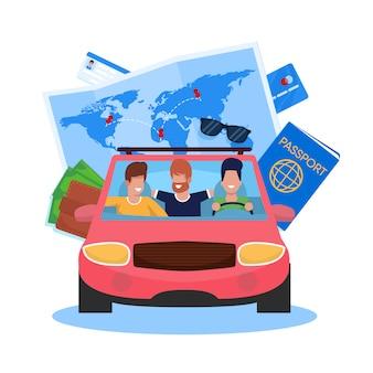 Ilustración vectorial vectores viaje en coche con amigos de dibujos animados.