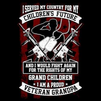 Ilustración vectorial veterano abuelo