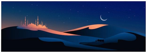 Ilustración vectorial del viaje árabe con camellos por el desierto con mezquita,