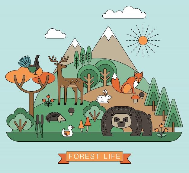 Ilustración vectorial de la vida del bosque.
