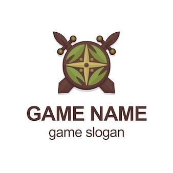 Ilustración vectorial con vikingo de dibujos animados o espadas de caballero y escudo. plantilla de logotipo del juego.