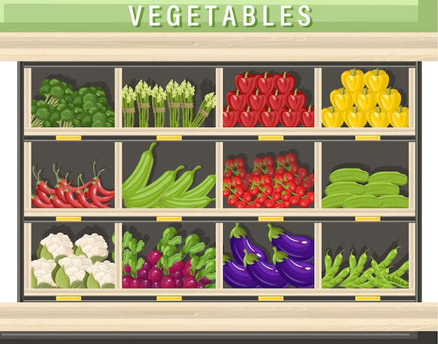 Ilustración de vegetales frescos de granja